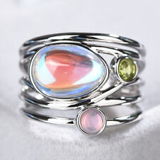 Unique 14K Gold Moonstone Aqua Blue Shell Ring Wedding Jewelry Gifts Size 6-10