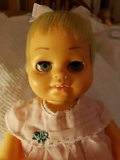 Tiny Chatty Baby Doll by Mattel 1962 SHE TALKS. Rare Pink Candy Striped dress.
