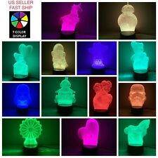 3D LED illusion USB 7Color Table Night Light Lamp Home Decoration Child Gift