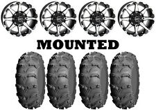 Kit 4 ITP Mud Lite XL Tires 26x9-12/26x12-12 on STI HD6 Machined Wheels IRS