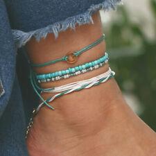 Women Layer Anklet Leg Bracelet Jewelry 5Pcs/Set Boho Turquoise Bead Anklets For
