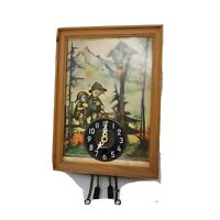 Vintage Wooden Frame Jewels Unadjusted Hanging Wall Clock Germany