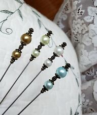 Victorian Hat Pins, Scarf Pins Vintage Antique Inspired Pearl Beads Clutch 4!