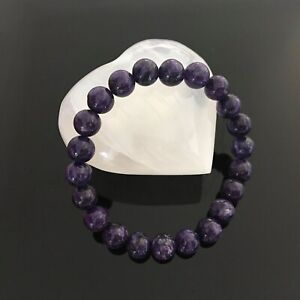 Handcrafted 8mm Natural AAA Purple Charoite Crystal Energy Beaded Bracelet