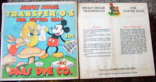 "2 OLD 1930'S DISNEY  MICKEY MOUSE PAAS EASTER EGG TRANSFER KIT LOT 6""X6"" UN-USED"