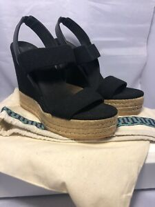 Tory Burch Raffia Wedge Black Sandals Size US5.5 UK2.5 Eur35.5 Brand new