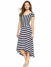 Striped Ballet Dress High Low Hem Sz S Rayon Asymmetrical The Gap New Blue White