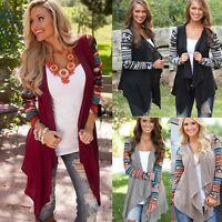 Womens Outwear Boho Irregular Long Sleeve Wrap Cardigans Casual Loose Coat ILOE