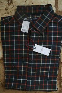 NWT Dark Charcoal Red Cream Plaid CREMIEUX Classics LS ButtonFront Shirt Medium