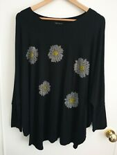 QED London Onesize Black Batwing Top With Jewelled Daisy Detail