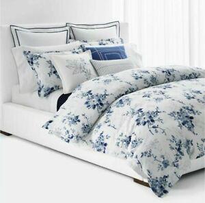 Ralph Lauren Sandra Floral 3.- Pc KING Comforter & Shams Set Blue/White $385..