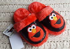NWT Toddler Girl Elmo Sesame Street Slippers Slip-On Sequins Sparkly Fuzzy 11-12