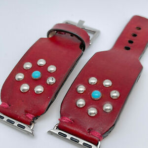 Apple Watch Band, Red Leather Western Rivet Watch Strap 38/40mm, 42/44mm
