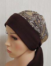 Hair loss headscarf, brown chemo bonnet cap, sleeping scarf, cancer head scarves