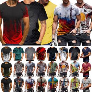 Fashion Men's Funny Skull 3D Print T-Shirt Casual Short Sleeve Tops Male Tee