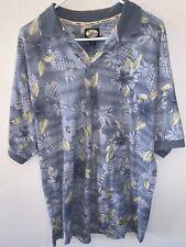 New listing Tommy Bahama Men's Medium Blue Hawaiian COTTON Floral Camp Aloha Polo Shirt