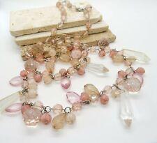Ann Taylor Loft Pink Bead Silver Tone Fringe Long Statement Necklace QQ14
