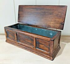 VINTAGE WOODEN ZINC LINED CHEST / HUMIDOR / POSSIBLY OAK / CIGAR BOX