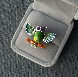 SILVER OWL RING SIZE P SOLID 925 AMETHYST
