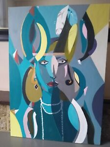 Abstract Art Deco Acrylic Painting