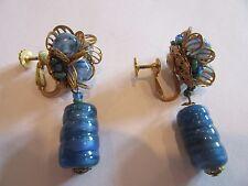 Vintage Miriam Haskell Blue Stone Drop Earrings
