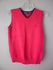 Polo RALPH LAUREN Youth/Boys M (10-12) Red  V-Neck Knit Sweater Vest NEW
