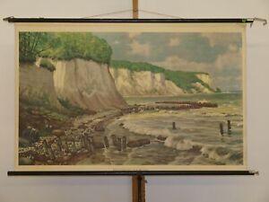 Kreideküste auf Rügen Stubbenkammer Ostsee Wellen 1960 Schul-Wandbild 120x76cm
