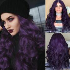 Ladies Charm Purple Long Curly Wigs Fashion Women Natural Wavy Hair Cosplay Wig