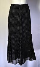RALPH LAUREN Sz 12 B&W Polka-Dot Ruffled Skirt 100% Silk Fully Lined Modest EUC