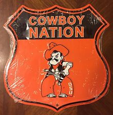 "OKLAHOMA STATE UNIVERSITY 12"" X 12"" SHIELD COWBOY NATION COWBOYS METAL SIGN"
