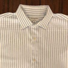 Banana Republic Mens White / Blue Striped Dress Shirt - XL 17/17.5 - 36/37