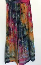 Beautiful Indian Long Skirt Blues Pinks  Sequins Boho Arty Free size Free  UK PP