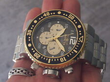 INVICTA PRO DIVER CHRONOGRAPH BLACK/GOLD, MODEL 25075, 500M, 52 MM, MINT
