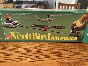 Vintage 1973 MATTEL Vertibird Air Police Helicopter Flying Toy w/Box WORKS