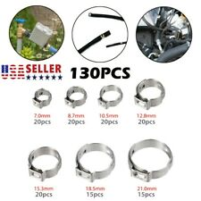 130pcs Hose Clamps Rings 7-21mm 304 Single Ear Stepless Assortment Stainless
