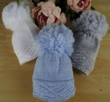 Pom POM Lavorato a Maglia BABY BOY GIRL UNISEX SCARPINE Bianco Blu Rosa Crema Grigio 0-3 LAV