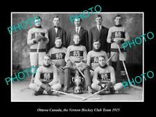 Old 6 X 4 Historic Photo Of Ottawa Canada, Vernon Ice Hockey Club Team 1915