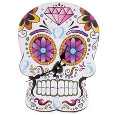 9 X 12 Day of The Dead Colour Skull Shaped Novelty Wall Clock 90 CKP 64