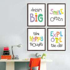 4 cs Colorful Inspiring Words Quotes Canvas Painting Kids Room Art Print Decor