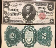 Reproduction Copy 1891 $2 Silver Certificate William Windom US Currency Bill