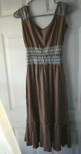 Women ZIGGA Cotton dress;Hippie;Boho;wide empire waist;Brown;Tribal;S/M