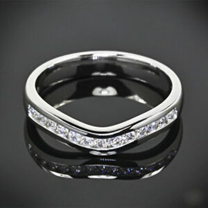0.26 Ct Round Real Diamond Women Engagement Ring Solid 18K White Gold Size M P Q