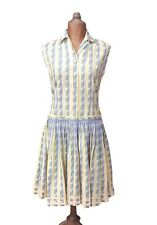 Size 12 Vintage 50s Retro Casual Summer Day Dress Stripes Dropped Waist Collared