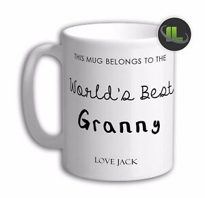 Personalised WORLD BEST GRANNY GIFT MUG Cup Add Name & Text- IL2029