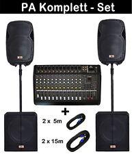 6000 Watt Powermixer 12-Kanal MUSIKER DJ PA MUSIKANLAGE KOMPLETTANLAGE 4 x Kabel