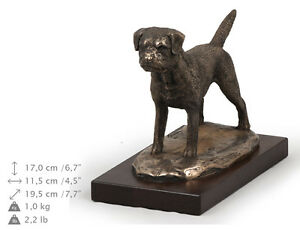 Border Terrier, Holz Statuette, Bronze, ArtDog, DE