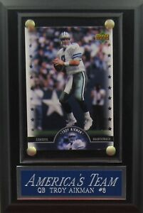 TROY AIKMAN DALLAS COWBOYS CARD PLAQUE WITH EASEL FOR YOUR MAN CAVE DECOR