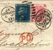 GB SWEDEN MAIL Cover London 3d Rose p8 & 2d Blue Plate 13 1872 Stockholm ZA189