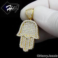 925 STERLING SILVER LAB DIAMOND ICED BLING HAMSA HAND GOLD CHARM PENDANT*GP94
