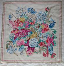 Auth Foulard  CHRISTIAN DIOR 100% soie  90cm x 90cm (T)BEG vintage scarf ---